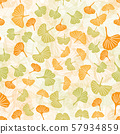 Endless pattern of large and small ginkgo leaves in green and yellow. Vector seamless pattern for 57934859