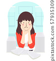 Girl Teacher Stressed Papers Illustration 57935309