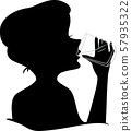 Girl Silhouette Drink Water Glass Illustration 57935322