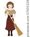 Girl Medieval Peasant Broom Illustration 57935329