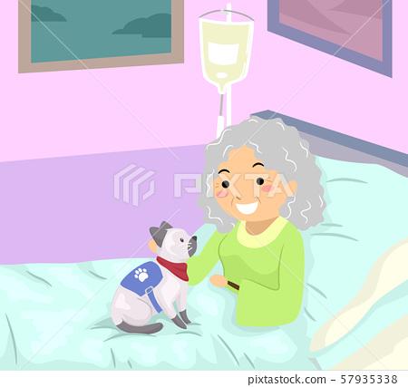 Stickman Woman Senior Hospital Service Cat 57935338