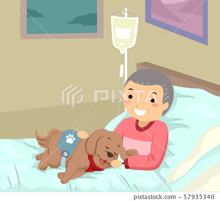 Stickman Senior Man Hospital Service Dog 57935340