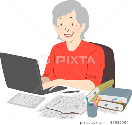 Senior Woman Writer Laptop Notes Illustration 57935344