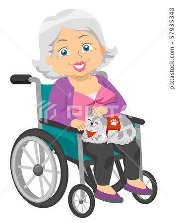 Senior Woman Service Cat Wheelchair Illustration 57935348
