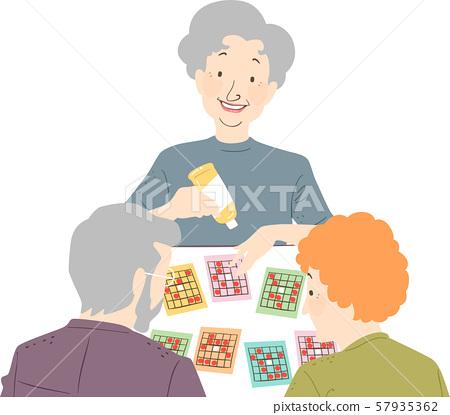 Seniors Play Card Game Illustration 57935362