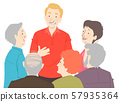 Seniors Citizen Group Talk Illustration 57935364