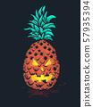Halloween Tropical Pineapple Monster Illustration 57935394