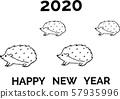 新年賀卡2020刺猬黑線 57935996