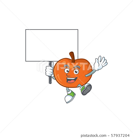 Bring board fresh tangerine juicy in cartoon character. 57937204
