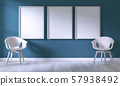 Mock up poster frame with white chair on room dark 57938492
