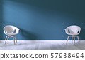 white chair on room dark blue wall background.3D 57938494