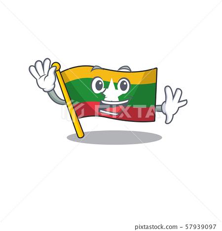 Waving flag myanmar was hoisted cartoon pole 57939097