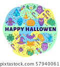 Happy Halloween linear icons, circle infographics. Colorful Halloween Poster. Vector illustration 57940061
