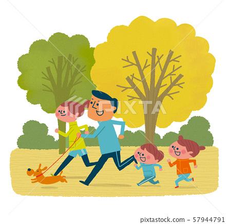 가을의 공원을 조깅하는 가족 57944791