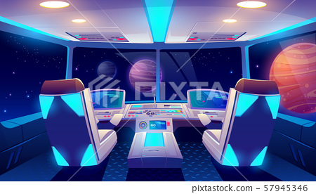 Spaceship cockpit interior space and planets view 57945346