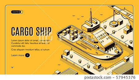 Cargo ship transport logistics isometric landing 57945376