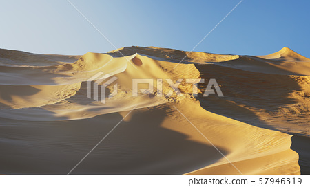 Virtual Desert Dunes landscape with a blue sky 57946319