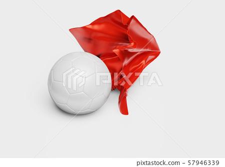 A Red Fabric piece finishing to take One Handball 57946339