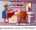 tailor room, studio with Aframerican seamstress 57946607