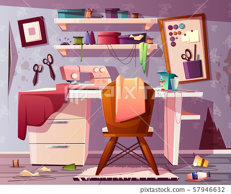 dirty tailor room. Mess in studio. 57946632