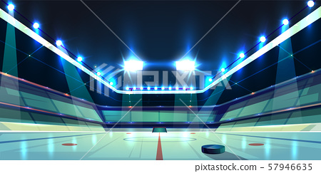 hockey arena, ice rink with puck 57946635