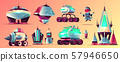 Space stations and vehicles cartoon set 57946650