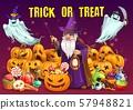 Halloween pumpkins with candies, ghosts, wizard 57948821