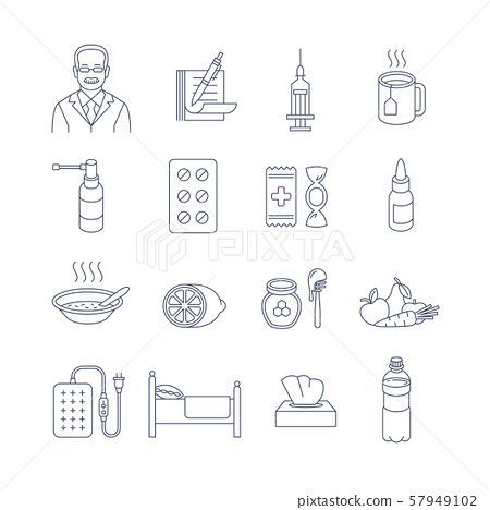 Cold and flu treatment thin line contour icons 57949102