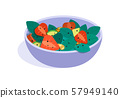 Fruits salad. flat Vector illustration. Concept of healthy eating 57949140