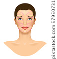Anti aging treatment and plastic surgery concept. Beautiful young woman with red arrows over face. 57950731