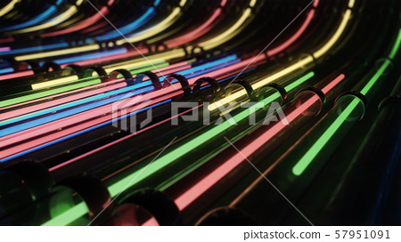 Abstract VJ neon lines running through pipes 57951091