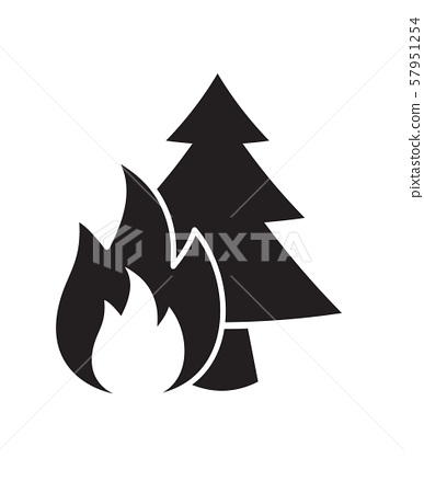 Vector flat black forest fire icon 57951254