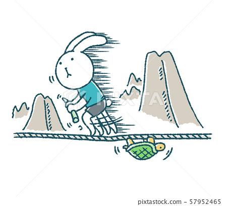 鬆散的兔子和烏龜鋼絲 57952465