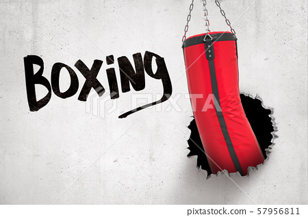 3d rendering of red punching bag breaking white wall with 'Boxing' sign on white background 57956811