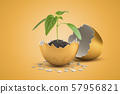 3d rendering of small green sprout growing from black soil in golden shell of golden egg that just 57956821