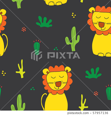 Cute Lion Seamless Pattern, Cartoon Hand Drawn Animal Doodles Vector Illustration Background . 57957136