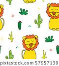 Cute Lion Seamless Pattern, Cartoon Hand Drawn Animal Doodles Vector Illustration Background . 57957139
