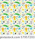Cute Animals Seamless Pattern, Cartoon Hand Drawn Animal Doodles Vector Illustration. 57957203