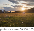 Beautiful orange sunrise in Landmannalaugar mountain at camp site area with white flowers and tents 57957675