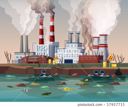 Power plant air pollution or industry factory 57957715