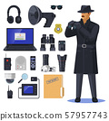 Detective items near spy or investigation officer 57957743