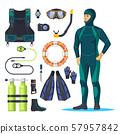 Diver in scuba diving suit, snorkeling man. 57957842