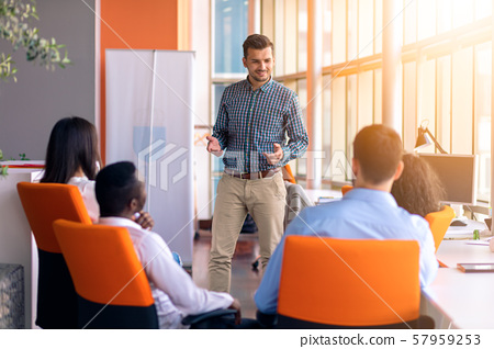 Business meeting in a modern office with young people 57959253