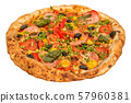 Pizza close-up 3d rendering with realistic texture 57960381