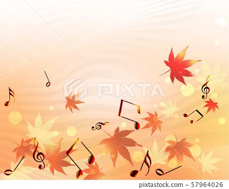 오선보 음악 음자리표 음표 단풍 가을 콘서트 악보 57964026