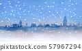 눈이 내리는 거리 수채화 일러스트 57967294