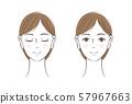 여성의 정면 얼굴 세트 57967663
