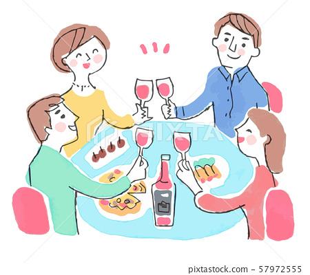 와인으로 건배하는 남녀 57972555