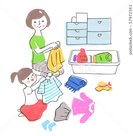 Parent and child making clothes 57972561
