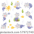 Set of images of cartoon cat mermaid. Vector illustration on a white background. 57972740